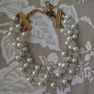 Pearl & Crystal Vintage Choker Necklace